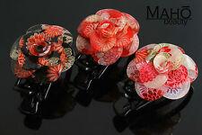 JAPANESE HAIR clip KANZASHI style KIMONO hairclip claw Camellia Tsubaki BLACK