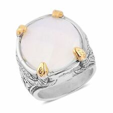 OPALITE CUSHION CUT SNAKE SETTING FLORAL DESIGN STAINLESS STEEL HYPOALLERGENIC 7
