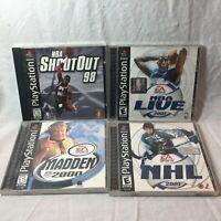 PS1 Sports Bundle NBA Live 01- NBA Shootout 98  - Madden 00 - NHl 01 Tested