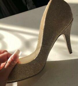 Champagne gold Glitter Size 4 Kitten Heel new