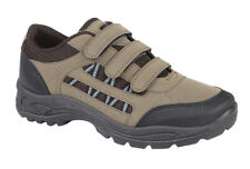 MENS BROWN KHAKI SIZE 7 8 9 10 11 12 HOOK AND LOOP TOUCH FASTENING STRAP TRAINER