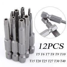 12PCS T5-T40 Torx Screwdriver Bit Set Hex Security Magnetic Head 50MM Extra Long