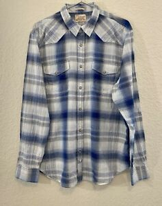Lucky Brand Mens Blue Plaid Classic Fit Pearl Snap Shirt Size XL