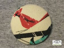 "Charley Harper HUGE  1.5"" Cardinal Red Song Bird Fabric Button Charles CHF16"