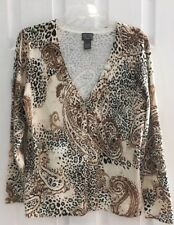 Additions By Chico's Long Slv Animal Print/Paisley V Neck Button Cardigan Sz 1