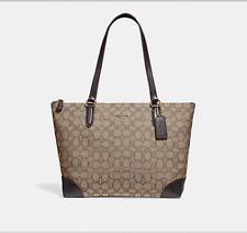 Coach F29958 Zip Top Tote In Signature Jacquard Handbag Shoulder Bag Purse Khaki