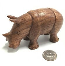 Hand Carved Wood Rhinoceros Sculpture African Baby Rhino Figure 5 Inches Long