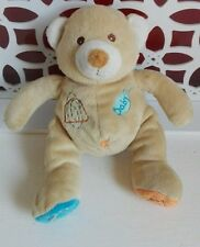 Doudou Ours beige bleu orange broderies Baby Nat