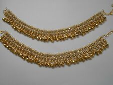 Indian Bead Ankle Bracelet Pearl Anklet Payal Ghungroo Bells Gold Tone Jewelry