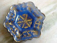 MUGHAL BLOWN GLASS PLATE GILT GOLD WORK DECORATIVE BLUE MILKY VINTAGE COLLECTIBL
