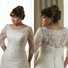 Extra Size White Ivory Lace Shawl Bolero Wedding Jacket Bridal 3/4 Sleeve-T2002