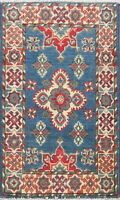 Geometric Classic Super Kazak Oriental Area Rug Hand-Knotted Kitchen Carpet 2x3