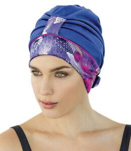 Ladies Swim Cap Fashy Blue & Purple Animal Print Turban Swimming Hat