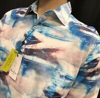 New Robert Graham Shirt Mens Medium Abstract Cloud Artesia Contrast Flip Cuffs