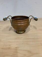 Vintage Solid Round Copper Planter Porcelain Double handle 4.5'' Tall