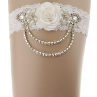 Women Lace Wedding Garters for Bride Prom Garter with Crystal Chain