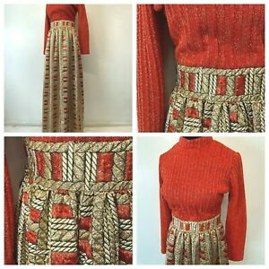 Vintage 1960s Montaldos Maxi Dress size M Red Orange Gold Silver Metallic DS9