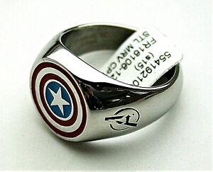 Marvel Comics Captain America Shield Avenger Stainless Steel Ring New Box sz13