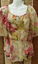 H&M Ladies Pink, Cream & Yellow Floral Floaty Sheer Short Sleeve Blouse Size 10