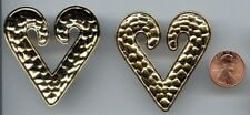 1 VINTAGE GOLD PLATED SNAKE SKIN HEART 53x50mm. LARGE DECO PLAQUE FINDING  534A