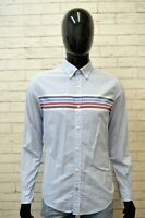 TOMMY HILFIGER Uomo Camicia Blu Chiaro Taglia S Maglia Camicetta Shirt Men's