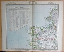1883  ANTIQUE MAP - IRELAND NORTH WEST, SHEET 1, TABLE OF ROUND TOWERS