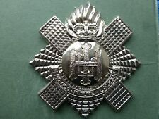 Royal Highland Fusiliers pipers badge in white metal