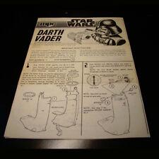 Star Wars 1978 MPC Darth Vader Snap Together Kit Instruction Manual Rare