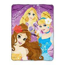 "Plush Silk Touch Throw Blanket Disney Princess Rapunzel Cinderella Belle 46""x60"""
