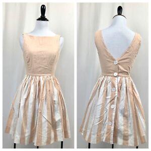 American Apparel Mini Dress Deep V Back Pink Button Up Back XS Cotton USA Made