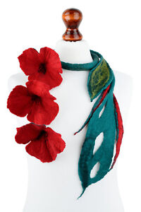 Red flower necklace with long emerald stalk, open statement necklace, fiber art