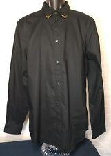 Primark Men's Long Sleeves Button Down Shirt Size L color black