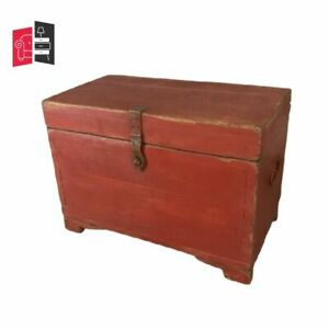 Indian Antique Hand Painted Indian Solid Wood Red Chest Box (MADE TO ORDER)