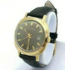 Vintage SLAVA Ussr Russia Watch Rare Dial Gold Plated AU20 Mechanical Serviced