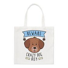 Fai attenzione Crazy Dog Ragazzo Small Tote Bag-Divertente Cucciolo Animali Pet Spalla Shopper