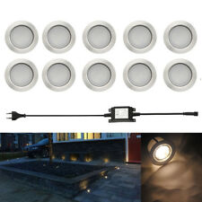10er Set 1W LED Leuchte Boden Einbaustrahler Außenlampe Garten Flur wasserdicht