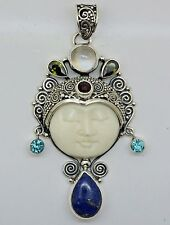VINTAGE Carved Bone Bali Goddess Gemstone pendant (60x29 mm) in 925 Silver