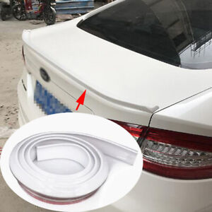 4.9ft Gloss White Car Rear Spoiler Wing Rubber Lip Tail Trunk Roof Trim Sticker