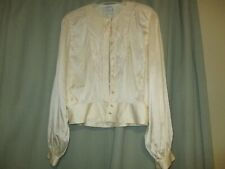 Vintage Saks Fifth Avenue 100% Silk hand embroidery Blouse size 4 cream