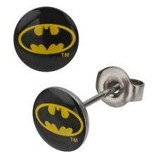 Official DC Comics Classic Batman Log Stud Earrings - Black Yellow Boxed Steel