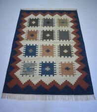 Vintage Turkish Hand Woven Wool Cotton Multi Color Kilim 4x6 Feet Area Dhurrie