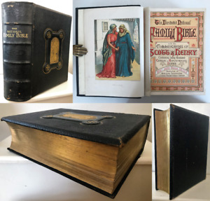 c.1850 HOLY BIBLE Old New Testaments Rev. Eadie Commentary Scott Henry 26 Plates