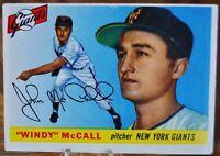 "1955 Topps Baseball Card, #42 ""Windy"" McCall, New York Giants - VG"