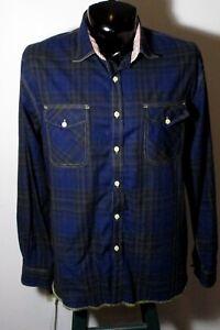 Men's ARNOLD ZIMBERG Blue Green Long Sleeve Shirt Size L