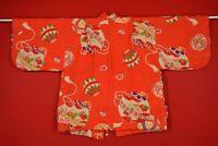 Vintage Japanese Silk Antique BORO HAORI Kusakizome Dyde Textile Kids /YE22/450