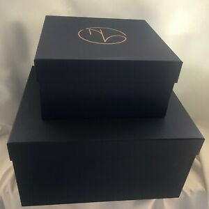 Set of 4 Rigid Navy Blue Luxury Square Storage Gift Boxes - 2 Sizes- New in Box