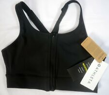 NWT $72 Athleta Size S Front Zip Stealth Sports Bra Black Compression #868888