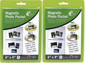 "2 Packs Of 6 x 4"" Magnetic Photo Pocket Holders For Fridge Freezer 3 Pockets"