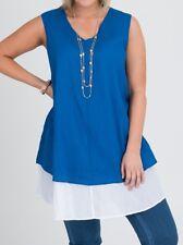 Plus Sizes Sleeveless 2 Layer Blue & White Soft Tunic / Top 100% Cotton Size 18