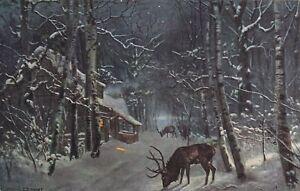 Ak Künstlerkarte: TSN Serie. Winterlandschaft- Hirsche auf Futtersuche.